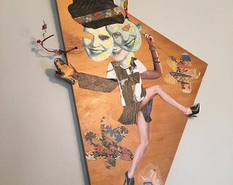 Handmade Mixed Media and Collage Paper// Marian the Dancin' Three-Headed Woman