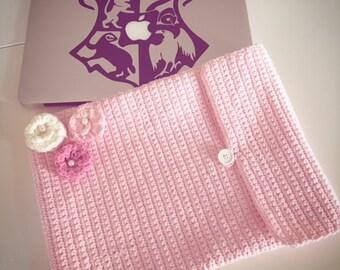 "Handmade Pink Crochet Macbook 13"" Laptop Sleeve / cover / case / flowers / laptop skin"
