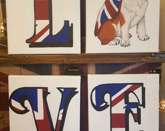 Great British love canvas, hand painted, art, acrylic, decoration