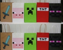 Instant Download Mine themed Favor Bags - Minecraft Party/ Goody/ Goodie/ Treat/ Loot/Gift Bags - Minecraft Video Game Birthday Party Favors