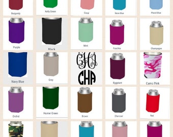 Monogram can coolies with glitter or matte print