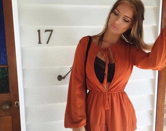 Rust Orange Heidi Playsuit