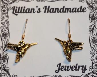 Gold Hummingbird Earrings