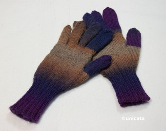 Finger gloves with extended shafts, which can be handled well, colored yarn, warming, from hand-knitted
