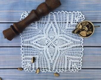 "Square doily 12.59x12.59 ""/white lace cotton/crochet doily/white doily/square doilies/handmade doily/white square doily/square crochet doily"