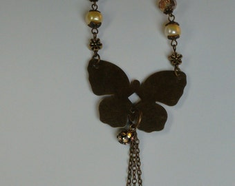Antiqued Brass Butterfly Necklace