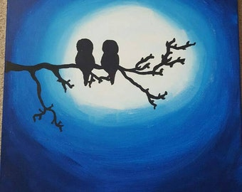 Owls in moonlight painting