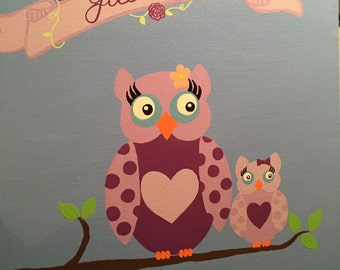 Personalized Owl Painting for Baby's Room