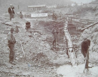 1901 Gold Mining Stereoview Yukon Gold Antique Mining Image  Gold Miners