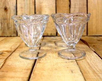 Glass {Vintage} Ice Cream - Sundae - Parfait Glasses, Set of 4
