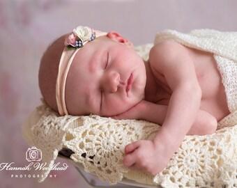 Newborn Tieback Headband Baby Headband Pink Purple Photography Prop UK Seller