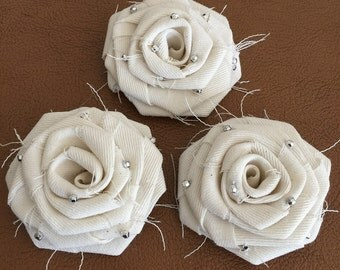 """Cream Natural Fabric Flowers Rolled Rose With Crystal 2.5"""", Fabric Rosette, Wholesale Flower , Floral Embellishment, fabric flower"""