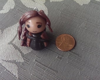 The Hunger Games polymer clay Katniss chibi charm