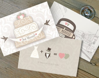 Just Married Note Cards, Assorted Set of 10, Congratulations Greeting, Vintage Notes