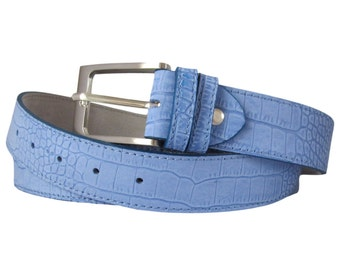 1.18 Inch NABUK Croc Sky Blue Italian Calf Leather Belt - Sky Blue 3 cm \ 1.18 Inch wide - Custom size and buckle HYPOALLERGENIC 51.2 inch