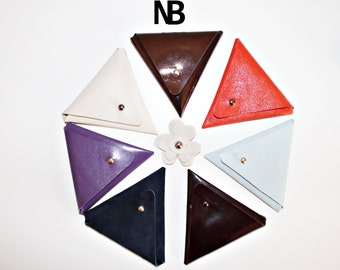 Unisex genuine leather triangle wallet bag purse