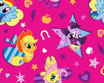 """Hasbro My Little Pony Fabric:Friendship Is Magic- Characters Toss- Twilight Sparkle,Fluttershy 100% cotton fabric by yard 36""""x43"""" (SC15)"""