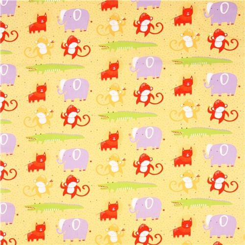 Nursery fabric clothworks safari animals lion elephant for Nursery monkey fabric