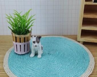 Aqua Jute rug dollhouse miniature