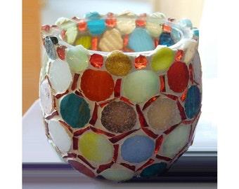 Votive Candle Holder, Tealight Holder, Mosaic Candle Holder, Candles & Holders, Mosaic Art, Unique Gift, Home Decor, Wedding Gift