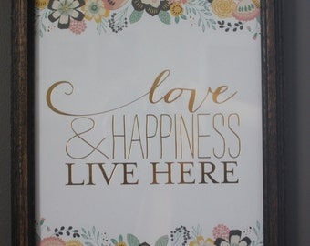 Love and Happiness Live Here Gallery Wall Art Print
