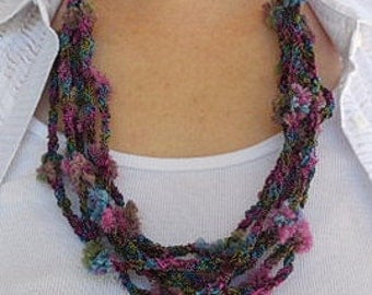 """Crocheted Necklace, specialty thread, fuchsia, teal blue, grass green. 32"""" long"""