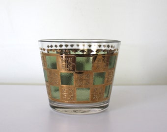 Glass Gilded Ice Bucket | Glass Vintage Ice Bucket or Vase | Gold Green