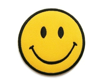 Smiley Smile Happy Yellow Face Embroidered Applique Iron on Patch 6.6 cm. x 6.6 cm.