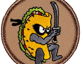 Ninja Taco Patch (702) 2 Inch Diameter Embroidered Patch