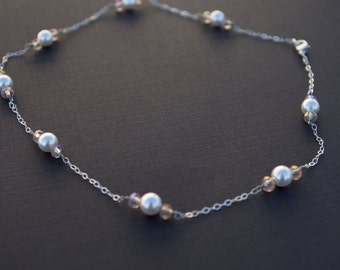 Sterling silver necklace with Swarovski pearls