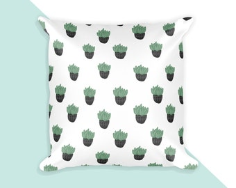 Succulent Pattern  - 18x18 throw pillow cover with insert