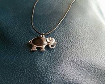 Black Belly Elephant Pendant Necklace