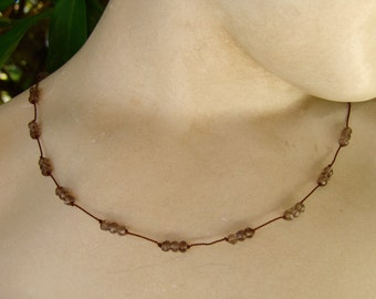 Faceted Smoky Quartz Triple Silk Strand Necklace