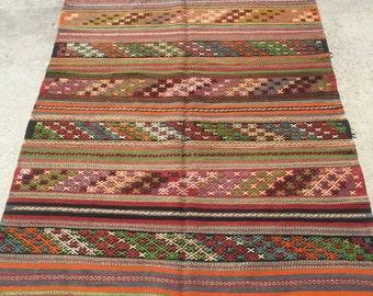285x145 cm 9.3x4.7 feet Striped Kilim Rug Floor Kilim Turkish Antique Kilim Ethnic Kilim Rug  Anatolian Kilim Turkish Kilim Handmade Rug