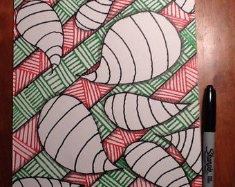 Green, orange and black Zentangle inspired art