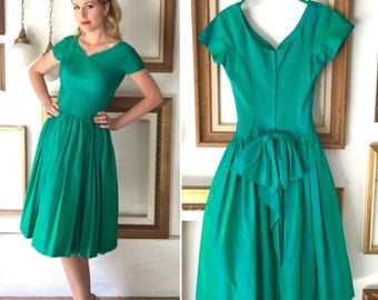 Vintage Pinup Style Iridescent Teal Green Dress with Bow - Free Ship