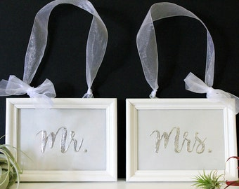 Genuine Hand-Foiled Metal Mr. and Mrs. Wedding Signs