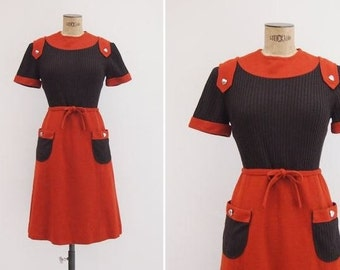60s Mod Dress / Small / Brown and Orange Knit