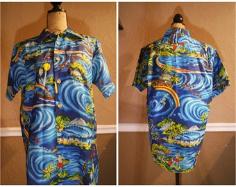 1980s  blue hawaiin shirt with rainbows and village size medium