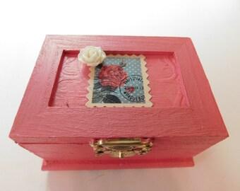 Wooden Trinket Box Pink