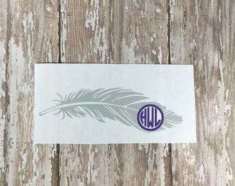 Feather monogram decal, Feather tumbler decal, Feather car decal, Feather Yeti decal, Ozark feather decal, Laptop decal, Feather sticker