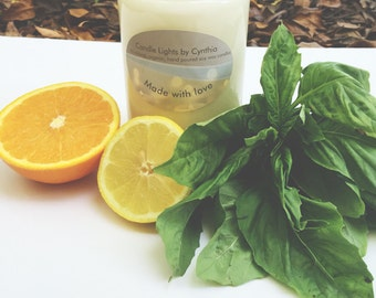 Citrus Basil Soy Candle, Hand-Poured