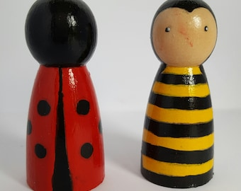 Wooden Peg doll buzzybee and ladybird pals