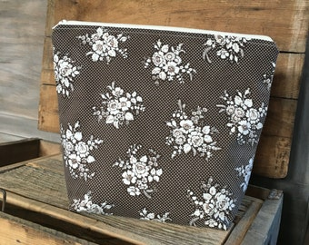 brown floral zippered bag