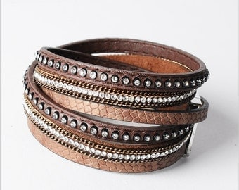 Leather Double Wrap Crystal Cuff Bracelet Brown