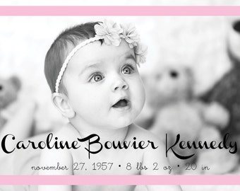 "Birth Announcement // Simple Border // Pink or Blue // Postcard or Card // Horizontal // 4""x6"" 5""x7"" // PDF Download"