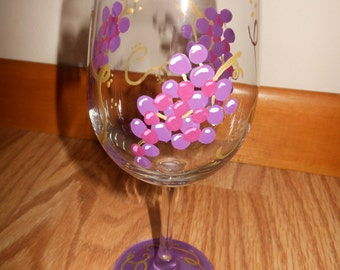 Hand Painted Grapes Wine Glasses
