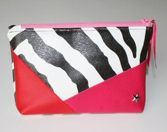Geometric clutch, pink and Red Zebra