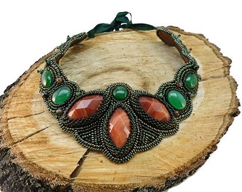 Green orange jewelry Carnelian agate necklace Natural stone jewelry Elegant party necklace Gemstone beadwork jewelry Gift necklace for mom