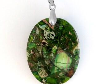 Oval Green Malachite Pendant